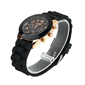 YKS Black Unisex Geneva Silicone Jelly Gel Quartz Analog Sports Wrist Watch (black)