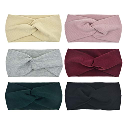 DRESHOW Bow Knotted Flower Headband Boho Floral Hair Band Facial Head Wrap Terry Cloth Yoga Sport Shower Headband Pack 6/8 (6 Pack Cross Ribbing ()