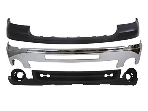 rra 2500Hd 3500 Front Bumper Chrome Bar Upper Cap Valance 3P ()
