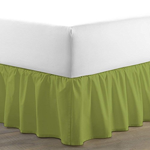 Kotton Culture Luxurious Adjustable Wrap Around Bed Skirt 100% Egyptian Cotton 600 Thread Count 18 Inch Drop Solid By (Moss, Full) (Available in and 29 Colors) - Moss Full 18' Drop
