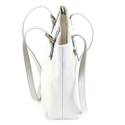 Pavini Damen Tasche Shopper Como Echt-Leder hellgrau 14875 Reißverschluss