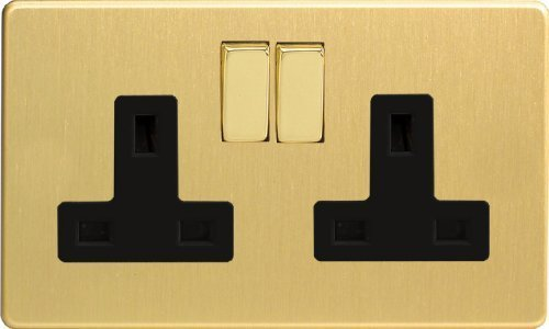 Varilight - 2 Gang 13 Amp Double Switched Socket Dimension Screwless Brushed Brass - XDB5BS by Varilight