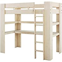 Dorel Living Baylee Loft Bed with Desk and Shelf, Natural Whitewash