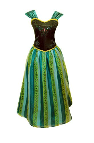Adult Women Princess Elsa Anna Coronation Dress Costume (Women S 4-6, Amazon Green) -