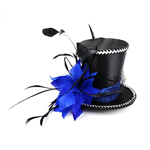 Mini Top Hat Blue Feather Fascinator Cocktail]()