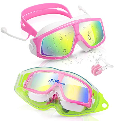 (Kids Swimming Goggles Child (Age 3-12) Waterproof Swim Goggles W Clear Vision Anti Fog UV Protection No Leak Soft Silicone Frame and Strap with case and earplugs for Kids Boys Girls (pink white))