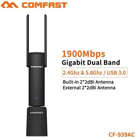 Pukido COMFAST Usb Wifi Adapter 1900Mbps 2.4Ghz And 5.8Ghz Dual Band Wifi Dongle Plug And Play Ac Network Card Usb Wifi Antenna Cf-93 Plug Type: Universal
