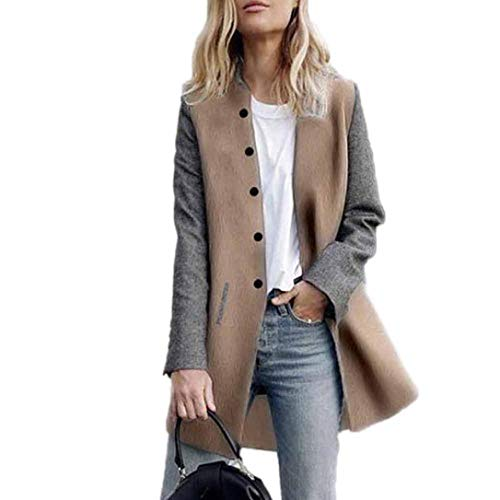 GOVOW Womens Cashmere Cardigan Jacket Casual Long Sleeve Patchwork Lady Coat Jumper KnitwearLoose Plus Clearance