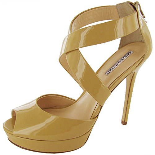 Patent Pumps David Charles Leather - CHARLES DAVID Womens 'Enchant' Heeled Sandal Shoe, Almond Patent, US 10