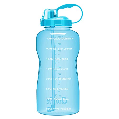 QuiFit Gallon Sport Water Bottle with Drinking Straw and Motivational Time Marker BPA Free Reusable 64/128 oz Large Capacity Ensure Your Daily Water Intake(Light Blue 128 oz)
