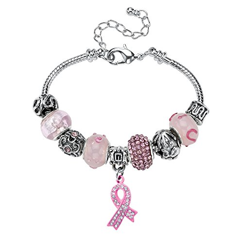 Silver Tone Pink Cancer Breast Cancer Bali Style Charm Bracelet (7mm), 8