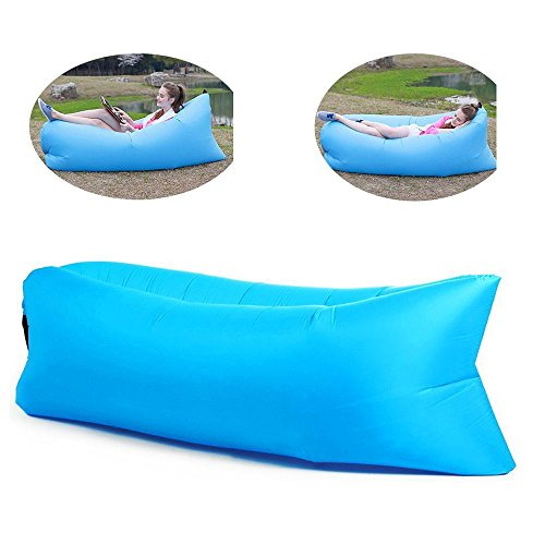 Funfest Fast Inflatable Lounger Air Filled Balloon Furniture, Outdoor Hangout Bean Bag, Sleeping Lazy Sofa, Portable Waterproof Compression Sacks for Camping, Beach