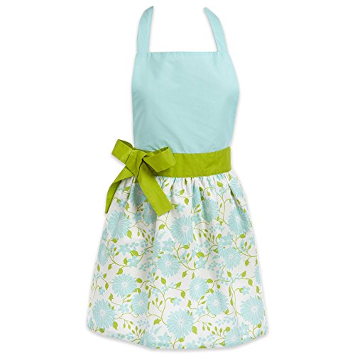 DII Cotton Women Apron Dress with Extra Long Ties, 31 x 28, Kitchen Apron with Embroidery Area for Cooking, Baking, Crafting, Perfect Mother's Day and Holiday Gifts-Aqua Daisy Angels Apron