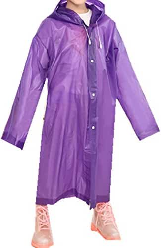 Taiduosheng Age 6~12 Kids Hooded Jacket Rain Raincoat Cover Long Rainwear
