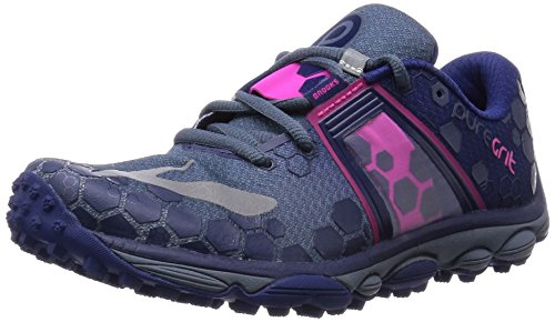 Brooks Women's PureGrit 4 China Blue/Blueprint/Pink Glo Sneaker 6 B (M) (Blueprint Footwear)