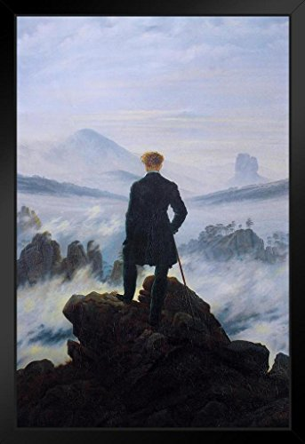 (Caspar David Friedrich Wanderer Above The Sea of Fog Art Print Framed Poster 14x20 inch)