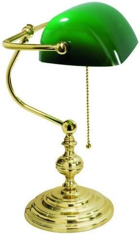 Lámpara de mesa de latón Oficina Estudio Clásico Cristal Verde ...