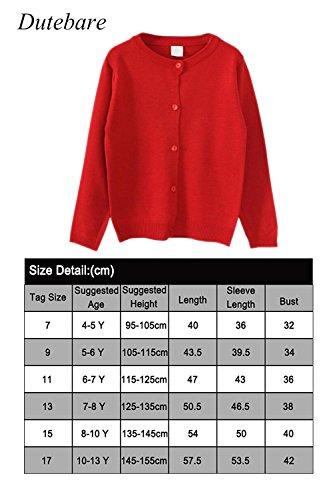 eafba26b9d15 Dutebare Girls Knit Cardigan Long Sleeve Button Cotton Crewneck ...