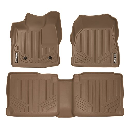 Tan Mat Weather Front (SMARTLINER Floor Mats 2 Row Liner Set Tan for 2011-2017 Chevy Equinox/GMC Terrain Dual Front Floor Posts)