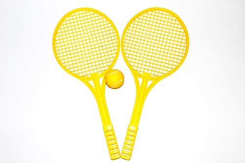 (Fun Set of 2 Plastic Tennis Rackets with One Ball for Children, Outdoor Activity for Kids, Friends and Family, Yellow)
