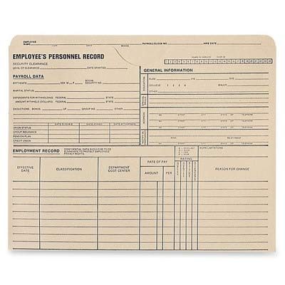 (QUA70010 - Quality Park Employees Personnel Record Jackets)