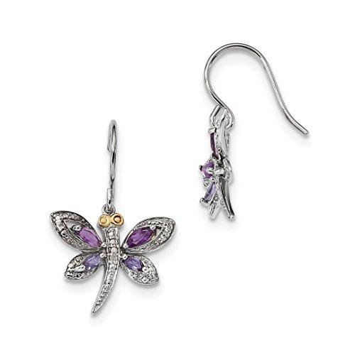 ICE CARATS 925 Sterling Silver 14kt Purple Amethyst Blue Iolite Diamond Dragonfly Drop Dangle Chandelier Earrings Animal Insect Fine Jewelry Ideal Gifts For Women Gift Set From Heart (14k Diamond Chandelier Earrings)