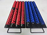 160pc RED/BLUE CLIPS 17-1/2''L SOCKET TRAY HOLDER ORGANIZER 1/4'' 3/8'' 1/2'' RAIL