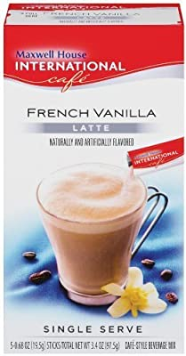 Maxwell House International Coffee French Vanilla Latte Singles, 3.4-Ounce Boxes (Pack of 8) by Maxwell House