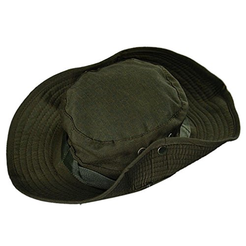 Boomboom Baseball Caps, Soft Bucket Hunting Fishing Outdoor Wide Cap Brim Military Boonie Hats (Army Green)