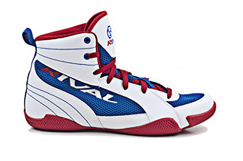 RIVAL BOXING BOOTS-LOW TOPS WITH MESH (RED WHITE & BLUE, 8) (White Boot Tops)