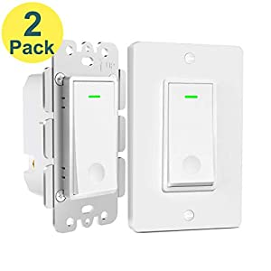 Aoycocr Smart Light Switch 2-Pack – Neutral Wire Needed, Single Pole, 2.4Ghz Wi-Fi Wall Switch, Easy to Install, Compatible with Alexa, Google Assistant & IFTTT, Schedule, Remote Control, FCC Listed