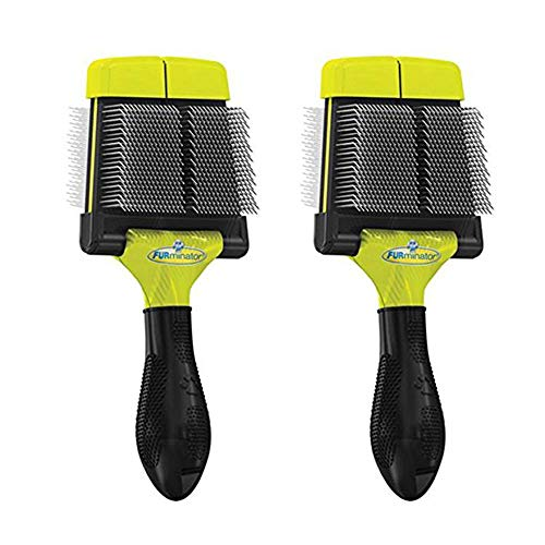 Firm Slicker - Firm Grooming Slicker Brush for Clean Healthy Coats, Large - 2 Pack