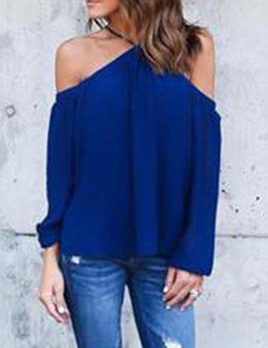 Ninimour Camiseta Clásica sin Hombro de Managa Larga para Mujer Azul Oscuro