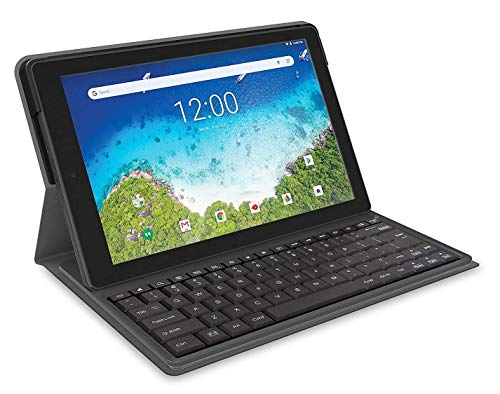 RCA Viking Pro 10 Inch Tablet with Folio Keyboard Fast Quad Core Multi-Touch Display Android 8.1 (Go Edition), Blue (Renewed)