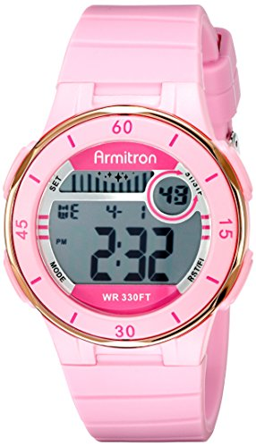 Armitron Sport Women's 45/7049PNK Rose Gold-Tone Accented Digital Chronograph Watch by Armitron Sport