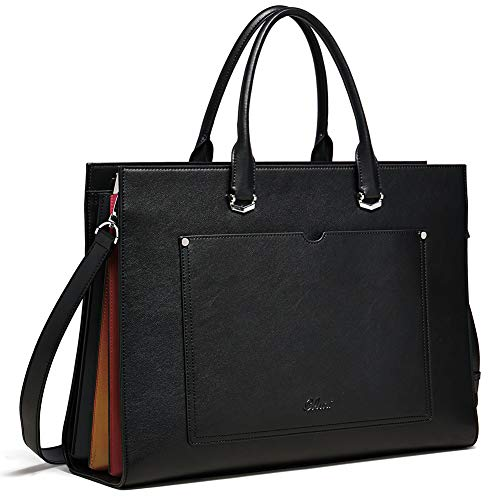 - Briefcase for Women Leather Slim 15.6 Inch Laptop Business Shoulder Bag Black