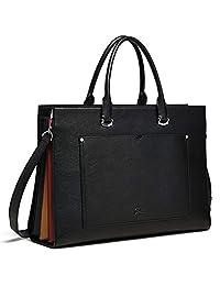 Briefcase for Women Leather Slim 15 Inch Laptop Business Shoulder Bag Black