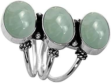 10.80ctw,Genuine Aquamarine 8x10mm Oval & .925 Silver Overlay Handmade Rings