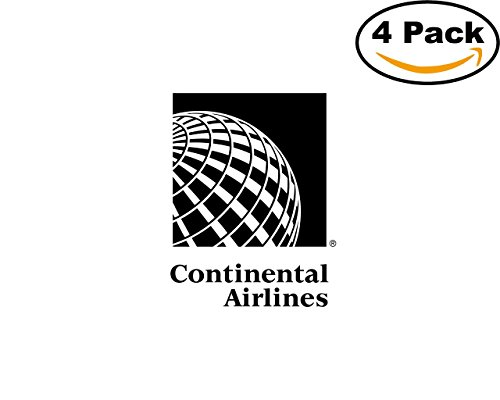 Continental Airlines 4 Stickers 4X4 inches Car Bumper Window Sticker Decal