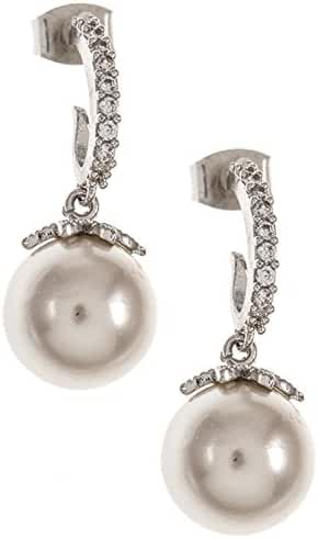 Trendy Fashion Jewelry Accent Pearl Dangle Curved Bar CZ Stone Earring By Fashion Destination