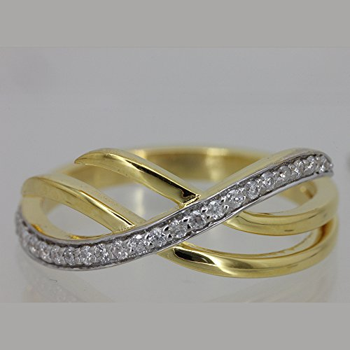 Natural 0.15 Ct Diamond Pave Fashion Promise Ring 18k Yellow Gold (0.15 Ct Natural Diamond)