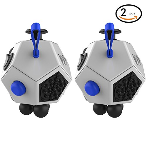 Magic Cindy 2 Pcs of 12 Sided Fidget Cube Relieves Stress and Anxiety – Toy Increases Focus and Attention for Children and Adults with ADHD, ADD OCD, and Autism