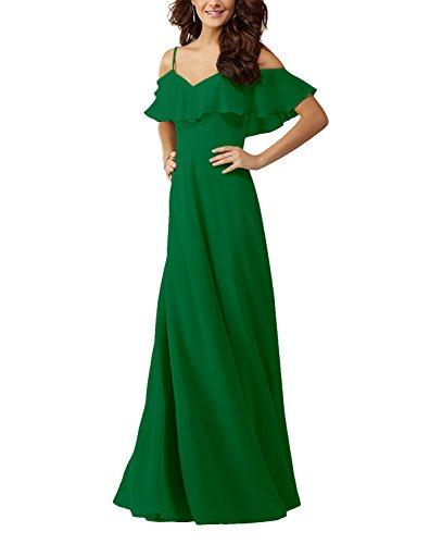 Bridesmaid Dresses Evening Green Ruffles Gown Long Lafee Women's Shoulder Chiffon Bridal Off 7TgXRU