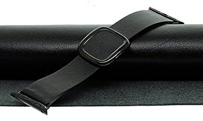 JSGJMY Smart Watch Band 38mm Leather Bracelet Replacement Strap for Smart Watch Sport & Edition (Black+Black Buckle,38MM L)