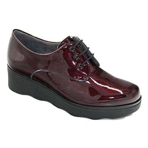5340 Charol Pitillos Burdeos Plataforma Cordones Zapato fwSRwqAH