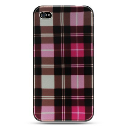 Crytsals Star - Premium Designed [Pink Plaid] Protective Snap-On Hard Case for iPhone 4 & iPhone 4s