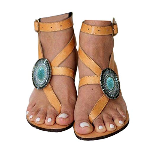 Women's Gladiator Sandals,Cross Tie Flat Rhinestone Sandals,Beach Sandals Size 8.5 Yellow