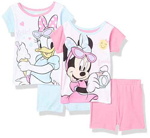 Disney Girls' Toddler Minnie Mouse and Daisy Duck 4-Piece Cotton Set, Bright White, 2T