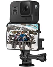 Vlog & Selfie Flip Mirror Set + Housing mic Adapter & Cold Shoe for GoPro 8/7/6/5 Session Max and DJI Osmo and Other Action Camera Accessory