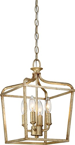 (Minka Lavery Ceiling Pendant Lantern Chandelier Lighting 4445-582 Laurel Estate, 4-Light Fixture 240 Watts, Brio Gold)